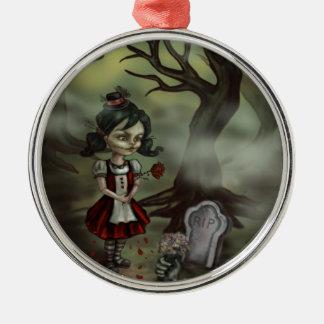 Zombie Girl Finds True Love in a Graveyard Metal Ornament