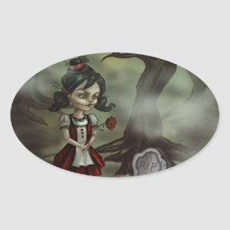 Zombie Girl Finds True Love in a Graveyard Oval Sticker
