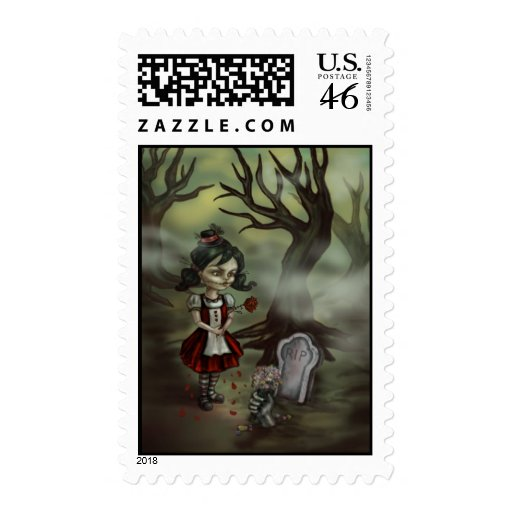 Zombie Girl Finds True Love in a Graveyard Postage Stamp