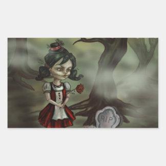 Zombie Girl Finds True Love in a Graveyard Rectangular Sticker