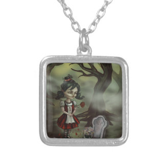 Zombie Girl Finds True Love in a Graveyard Square Pendant Necklace