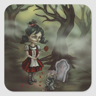 Zombie Girl Finds True Love in a Graveyard Square Sticker