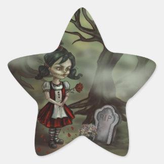 Zombie Girl Finds True Love in a Graveyard Star Sticker