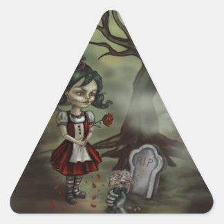 Zombie Girl Finds True Love in a Graveyard Triangle Sticker