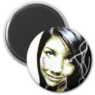 Zombie Girl Lightening Bolt Hair and Flesh Wound 2 Inch Round Magnet