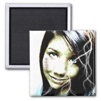Zombie Girl Lightening Bolt Hair and Flesh Wound 2 Inch Square Magnet