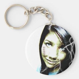 Zombie Girl Lightening Bolt Hair and Flesh Wound Basic Round Button Keychain