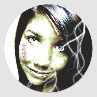 Zombie Girl Lightening Bolt Hair and Flesh Wound Classic Round Sticker