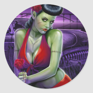 zombie girl love with rose vintage car round stickers