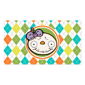Zombie Girl on Colorful Argyle Pattern Business Card Template