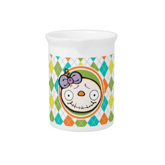Zombie Girl on Colorful Argyle Pattern Beverage Pitcher