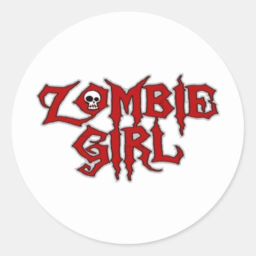 Zombie Girl Round Stickers