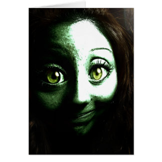 Zombie Girl Teenager with BIG eyes Greeting Cards