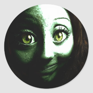 Zombie Girl Teenager with BIG eyes Classic Round Sticker