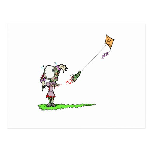Zombie Girl with Kite Post Card