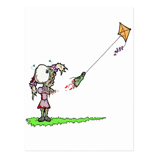 Zombie Girl with Kite Post Cards