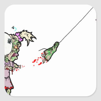 Zombie Girl with Kite Square Stickers