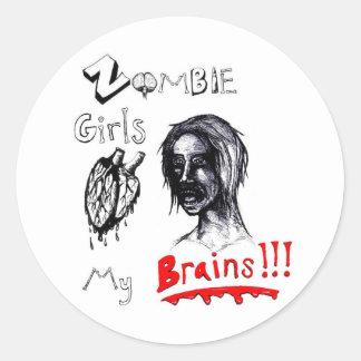 Zombie Girls Love My Brains Classic Round Sticker