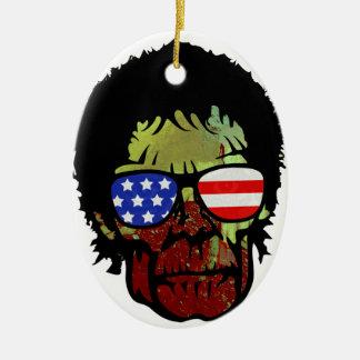 zombie glasses ceramic ornament