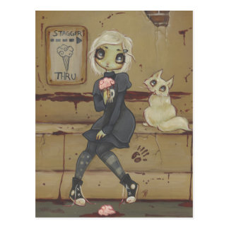 Zombie goth girl cute postcard cat undead