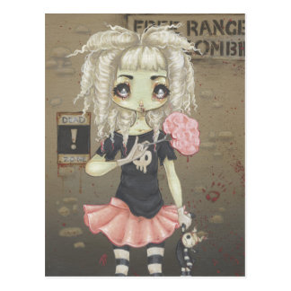 Zombie goth girl cute postcard undead big eye