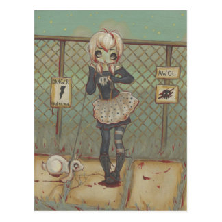 Zombie goth girl cute postcard undead jackalope