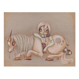 Zombie goth unicorn girl fantasy art gothic postcard
