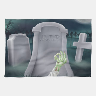 Zombie grave illustration hand towels