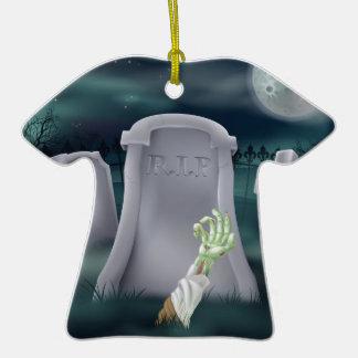 Zombie grave illustration christmas tree ornaments