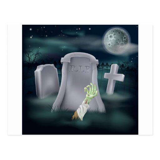 Zombie grave illustration postcard