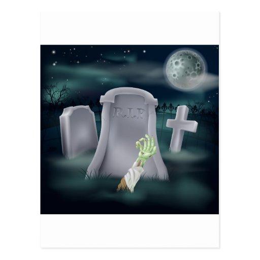 Zombie grave illustration postcards