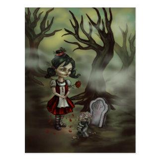 Zombie Graveyard Girl Postcard