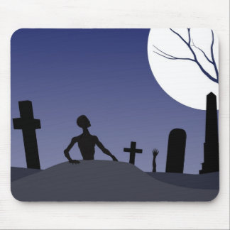 Zombie Graveyard Halloween Mouse Pads