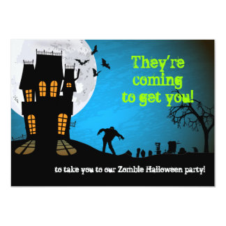Zombie Graveyard Halloween Party 4.5x6.25 Paper Invitation Card