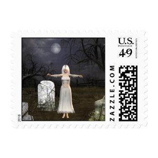 Zombie Graveyard Halloween Postage
