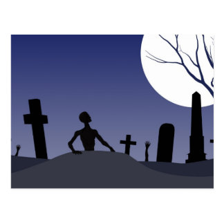 Zombie Graveyard Halloween Postcard