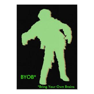 Zombie Green Silhouette 5x7 Paper Invitation Card