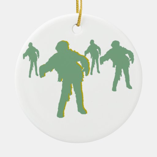 Zombie Green Silhouette Ornament! Customize me! Double-Sided Ceramic Round Christmas Ornament