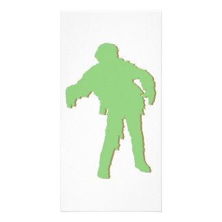 Zombie Green Silhouette Photo Cards