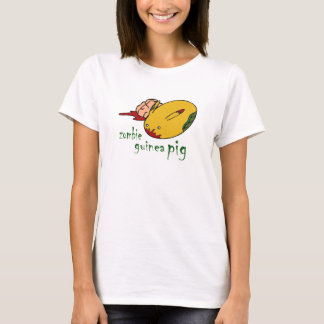 Zombie Guinea Pig  lady green letters T-Shirt