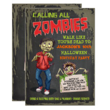 Zombie Halloween Birthday Party Invitations