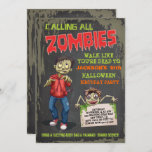 """Zombie Halloween Birthday Party Invitations<br><div class=""""desc"""">Super fun Zombie birthday party invitations with three zombies,  grungy background and back. Great for a sleepover,  halloween party,  or any occasion that includes scary zombies!</div>"""