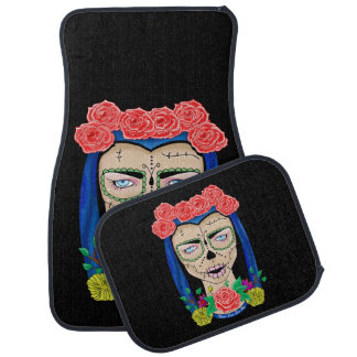 Zombie halloween girl with roses car mat