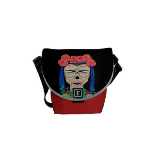 Zombie halloween girl with roses courier bag