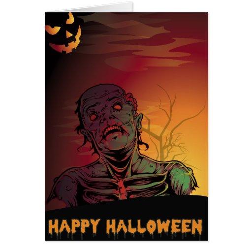 Zombie halloween greeting card zazzle