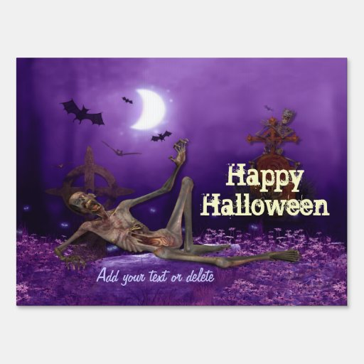 Zombie Halloween Greetings Sign