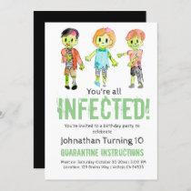 Zombie Halloween kid birthday party invitation