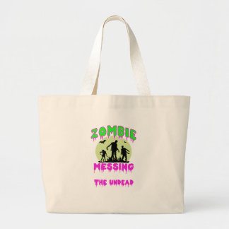Zombie halloween tee large tote bag