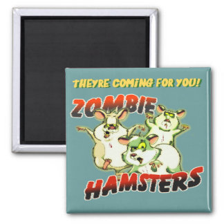 ZOMBIE HAMSTERS 2 INCH SQUARE MAGNET
