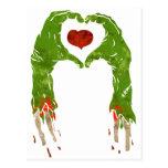 zombie hand making heart postcard